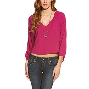 NEW! Ariat Women's Cora Cropped Blouse lg